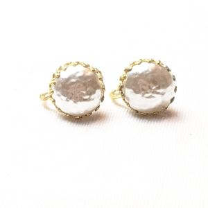 Vintage Miriam Haskell Faux Pearl Golden Earrings